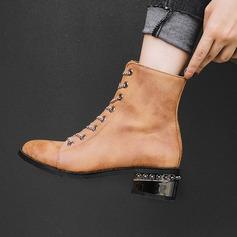 Donna PU Tacco spesso Stiletto Stivali أحذية