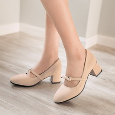Women's Suede Chunky Heel Closed Toe With Bowknot shoes