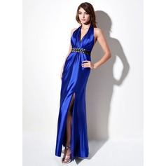 Sheath/Column Halter Floor-Length Charmeuse Evening Dress With Ruffle Sash Beading Bow(s) Split Front