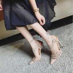 Kvinnor PU Stilettklack Sandaler Slingbacks med Bandage Ihåliga ut skor
