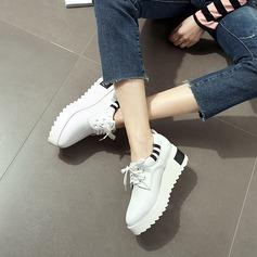 Naisten Keinonahasta Wedge heel Platform Suljettu toe Kiilat jossa Nauhakenkä kengät