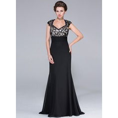 Empire-Linie Herzausschnitt Sweep/Pinsel zug Chiffon Kleid für die Brautmutter mit Perlen verziert