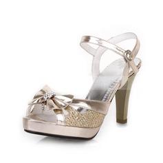 Femmes Similicuir Talon cône Sandales Escarpins avec Bowknot chaussures (087023579)