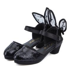 Ragazze Punta chiusa finta pelle tacco basso Sandalo Stiletto Scarpe Flower Girl con Velcro