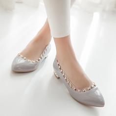 Femmes Cuir verni Talon plat Chaussures plates avec Rivet Talon de bijoux chaussures