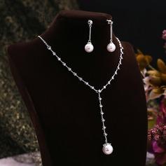 Elegante Circón/Platino plateado con La perla de faux Señoras' Sistemas de la joyería