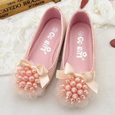 Girl's Ronde neus Microfiber leer Flat Heel Flats Bloemenmeisje schoenen met strik Imitatie Parel