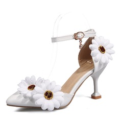 Women's Leatherette Stiletto Heel Pumps Mary Jane With Flower shoes