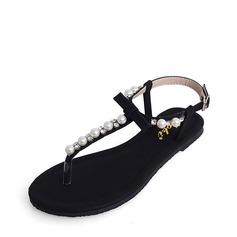 Women's Leatherette Flat Heel Sandals Flats Peep Toe With Rhinestone Bowknot Imitation Pearl shoes