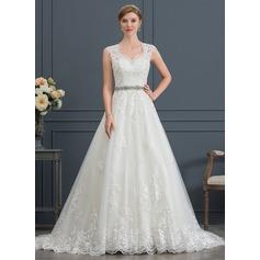Платье для Балла/Принцесса V-образный Церемониальный шлейф Тюль Свадебные Платье