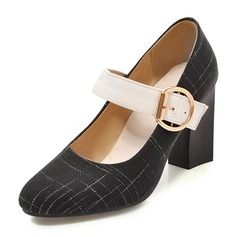 Women's Fabric Chunky Heel Pumps Closed Toe Mary Jane With Buckle shoes