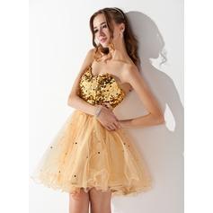 Forme Princesse Bustier en coeur Court/Mini Tulle Pailleté Robe de soirée étudiante