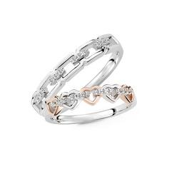Sterling Silver Cyrkonia Serce Okrągłe Cięcie Pierścienie par - Prezenty Na Walentynki