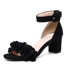 Vrouwen Suede Chunky Heel Sandalen Pumps Peep Toe met Gesp schoenen