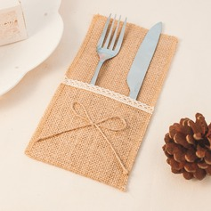 Linen Cutlery Bag With Lace