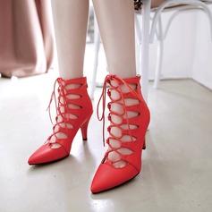 Kvinnor PU Stilettklack Pumps Stängt Toe med Zipper Bandage skor