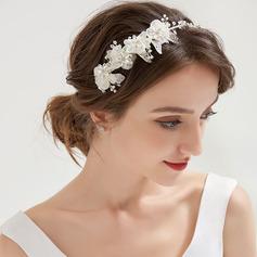 Señoras Hermoso Crystal/Aleación/La perla de faux/Flores de seda Tiaras