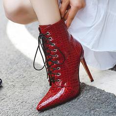 Cuir verni Talon stiletto Chaussures plates Compensée Chaussons Bottes cavalières avec Dentelle chaussures