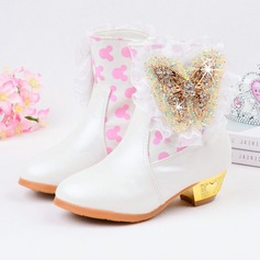 Girl's Leatherette Flat Heel Closed Toe Boots With Rhinestone Stitching Lace