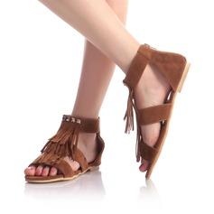 Vrouwen Suede Flat Heel Sandalen Flats Peep Toe met Tassel schoenen