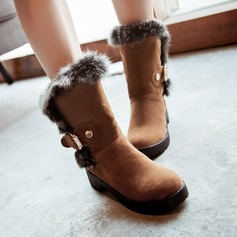 Women's Suede Low Heel Closed Toe Boots Mid-Calf Boots With Buckle shoes