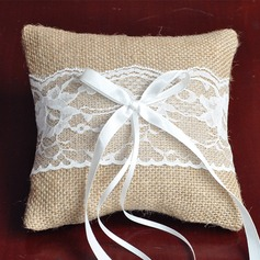 Classic Ring Pillow in Lace/Linen/Polyester With Bow
