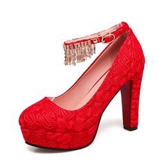 Женщины Кружева Высокий тонкий каблук На каблуках Платформа с Цепь обувь