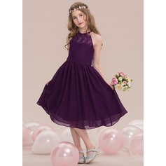 A-Line/Princess Scoop Neck Knee-Length Chiffon Junior Bridesmaid Dress (009119575)
