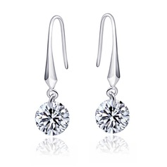 Elegant Sterling Silver/Cubic Zirconia Ladies' Earrings
