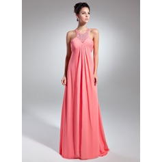 Empire Scoop Neck Sweep Train Chiffon Prom Dress With Ruffle Beading