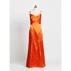 Trompete/Meerjungfrau-Linie Herzausschnitt Bodenlang Charmeuse Kleid für junge Brautjungfern mit Rüschen