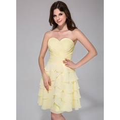 Vestidos princesa/ Formato A Coração Coquetel De chiffon Vestido de boas vindas com Babados em cascata