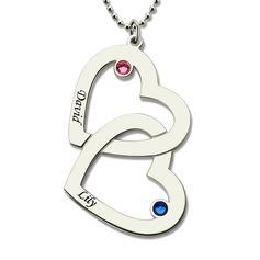 Personalizado Silver Duplo Colar de coração Colar Gravado com Birthstone - Presentes De Aniversário Presentes Para O Dia Das Mães (288209253)