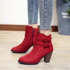 De mujer Ante Tacón ancho Salón Botas zapatos