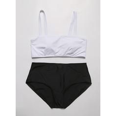 Sexig Solid färg Chinlon Bikinier Tankinis (Sats om 2 st) Baddräkt