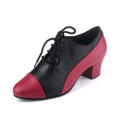 Women's Real Leather Heels Pumps Practice With Lace-up Dance Shoes