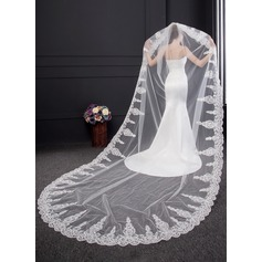 One-tier Lace Applique Edge Cathedral Bridal Veils With Lace (006150916)