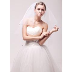 Twee-rij Gesneden Rand Vingertop Bruids Sluiers met Steentjes