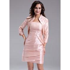 Платье-чехол квадратный вырез Мини-платье Тафта Платье Для Матери Невесты с Бисер Ниспадающие оборки