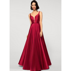 A-Line V-neck Floor-Length Satin Evening Dress (017219923)