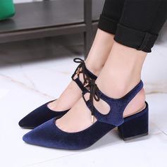 Frauen Stämmiger Absatz Sandalen Flache Schuhe mit Zuschnüren Schuhe