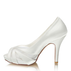 Women's Silk Like Satin Stiletto Heel Peep Toe Platform Pumps With Others (047217398)