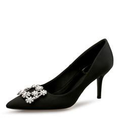 Kvinner silke som sateng Stiletto Hæl Pumps Lukket Tå med Rhinestone Spenne sko