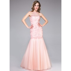 Trumpet/Mermaid Scoop Neck Floor-Length Tulle Lace Prom Dress With Ruffle Beading (018046197)