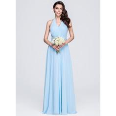 Vestidos princesa/ Formato A Cabresto Longos De chiffon Vestido de madrinha com Pregueado Curvado
