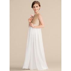 A-Line Scoop Neck Floor-Length Chiffon Sequined Junior Bridesmaid Dress