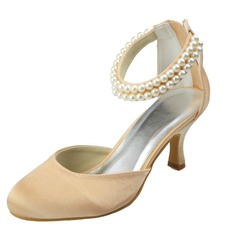 Women's Satin Spool Heel Closed Toe Pumps With Imitation Pearl Zipper