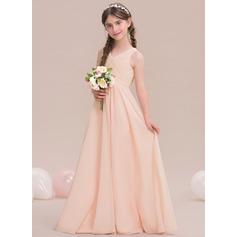 Vestidos princesa/ Formato A Decote V Longos Tecido de seda Vestido de daminha júnior com Pregueado (009119579)