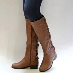 Kvinnor Konstläder Låg Klack Stövlar med Zipper skor