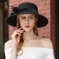 Dames Style Classique/Unique/Simple Coton avec Feather/Tulle Disquettes Chapeau/Chapeaux Tea Party